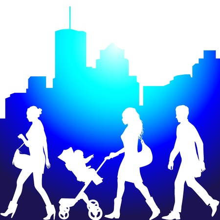 several people on the street - vector silhouettes Stock Vector - 11854394