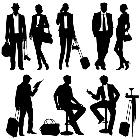 people travelling: lot of people - vector silhouettes