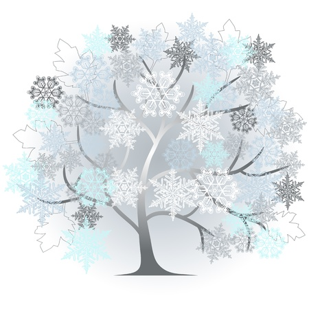 snow fall: winter - abstract tree - 2d vector