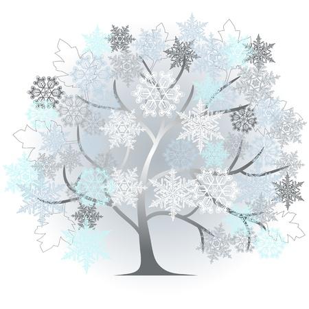 herbstblumen: Winter - abstrakten Baum - 2D-Vektor- Illustration