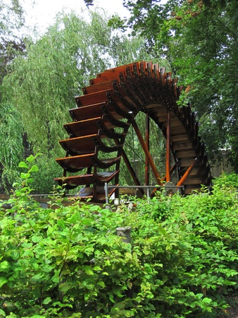 grist mill: Historic water mill wheel  Stock Photo