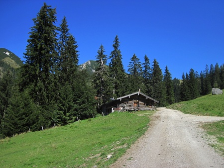 Old, traitional house in the Alps  photo