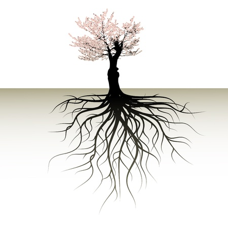 blooming tree with a space for a text Vector