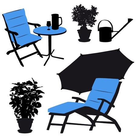 Garden furniture, vector silhouettes