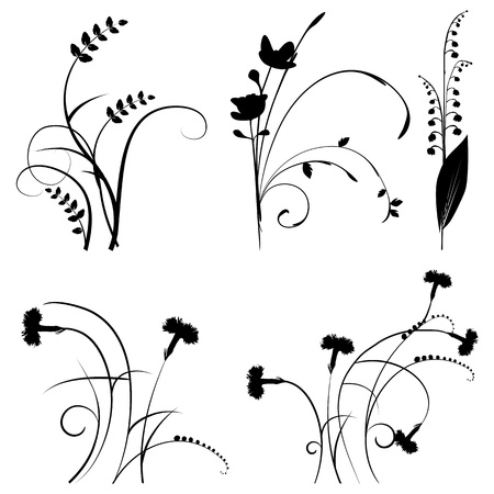 grass silhouette: Collection for designers, plant  set Illustration