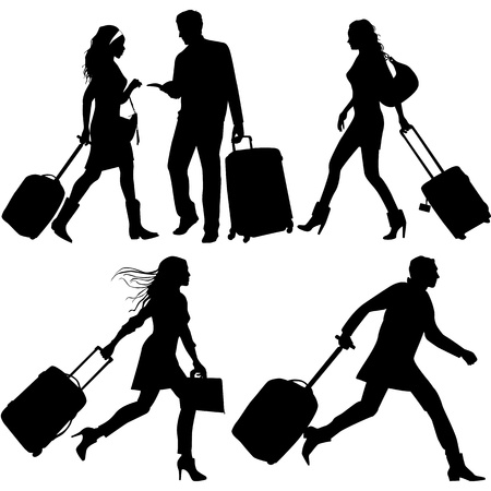 mujer con maleta: La gente con prisa, en el aeropuerto - Siluetas vectoriales
