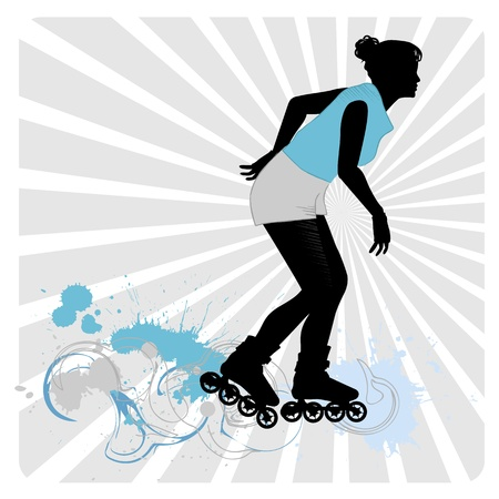 a girl on roller-skates  Silhouettes on a white background Stock Vector - 13158987