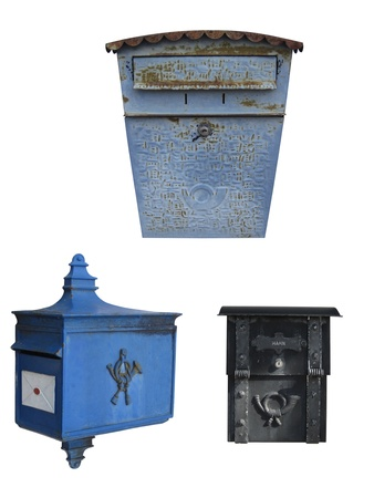 Set of 3 mailboxes, isolated on white  photo