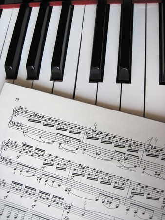 musical score: Piano keys with notes, musical background