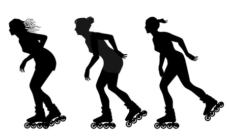 rollerskating silhouettes Illustration
