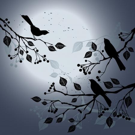 Birds on the branch during summer Illustration