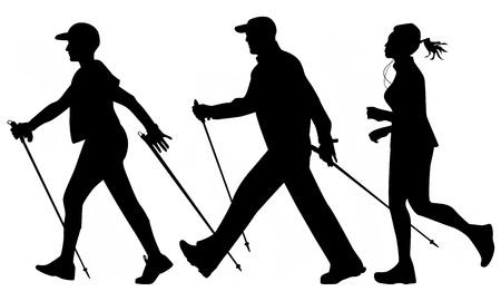 caminando: La mujer y el hombre est�n practicando jogging Nordic Walking