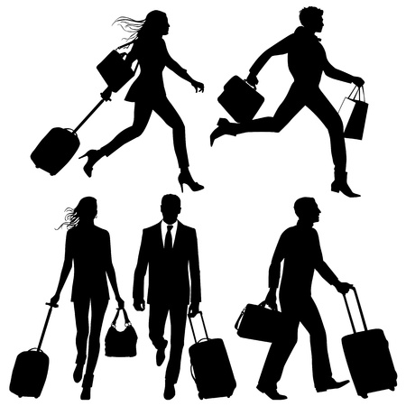 airport people: People in a hurry, on airport - vector silhouettes