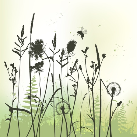bumblebee: real grass silhouette with bumblebee - vector
