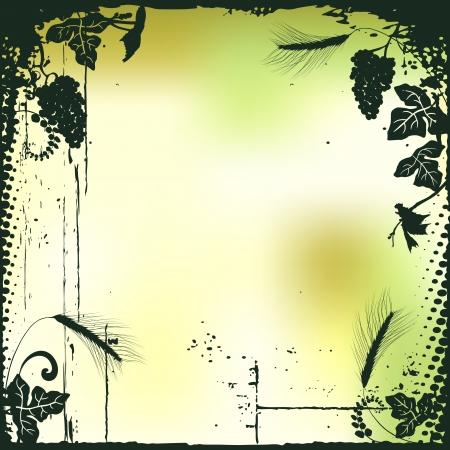 Tros druiven, plant achtergrond Stock Illustratie