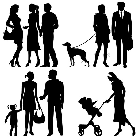 silhouettes of children: several people on the street - vector silhouettes