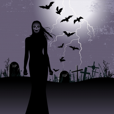 ghouls: Halloween background with woman ghost
