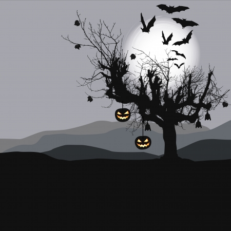 Halloween background - scary tree Vector