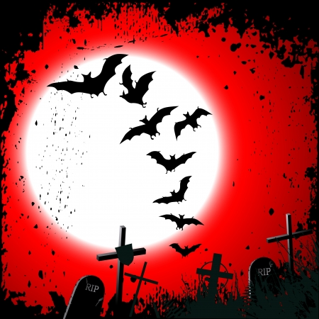 Halloween background - destroyed cemetery in full moon Vector
