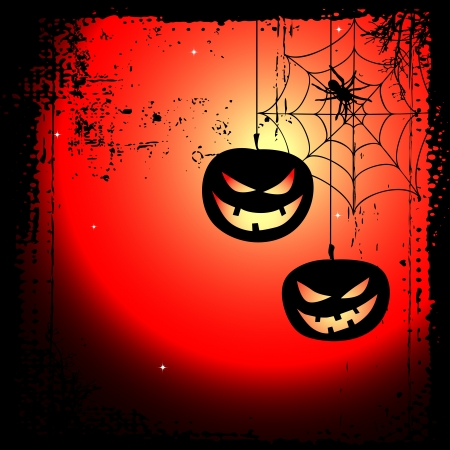 ghouls: Halloween background - two pumpkins and cobweb