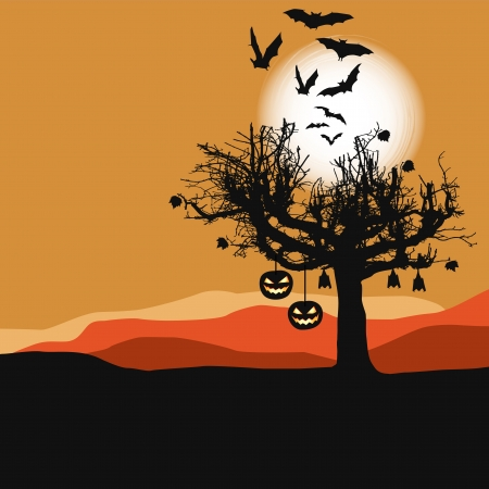 Halloween background - scary tree in full moon Stock Vector - 15781981