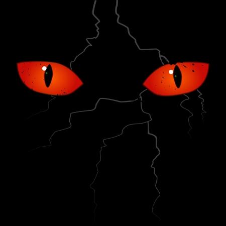 Yeux effrayants sur le fond noir Vecteurs