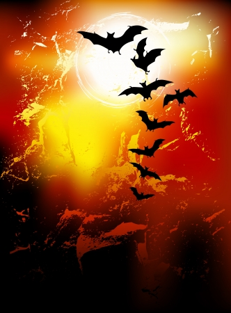 ghouls: Halloween background - flying bats in full moon