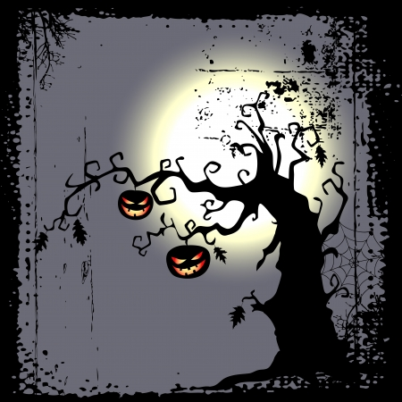 ghouls: Halloween background - two pumpkins are hanging on the tree Illustration