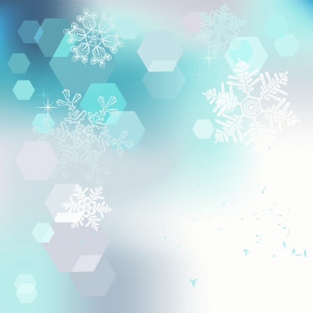 winter scenery: Winter background, snowflakes - vector illustration
