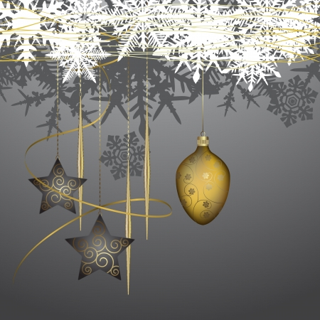 Winter background with christmas decoration - vector illustration Stock Vector - 16478351