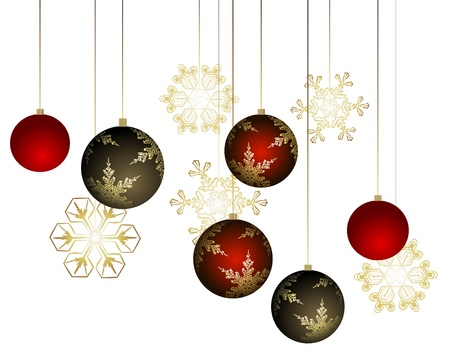 Winter background with christmas decoration - illustration Vector