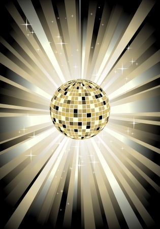 mirrored: Disco sphere in gold color - ilustration