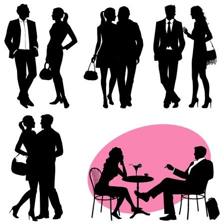 verschillende mensen - vector silhouetten Stock Illustratie