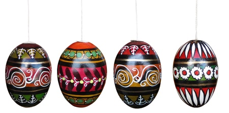 Colorful easter eggs isolated on white with clipping paths  Spring collection Stock Photo - 17478549