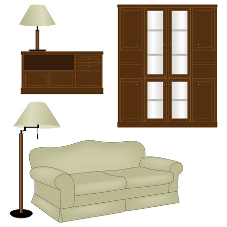 Sofa and other furniture isolated on white background Vector