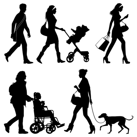 dog wheelchair: several people on the street - vector silhouettes