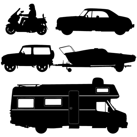 camper: Transportation icons collection - vector silhouette Illustration