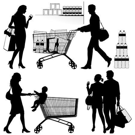 supermarket shopping: Several people  You can put each number of products in shopping trolley