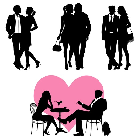profile: Lots of people, romance couple, silhouette - 2d vector set Illustration