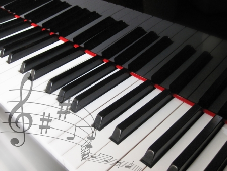 Piano keys with notes, musical background  photo