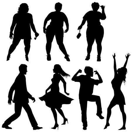 Several people are dancing, silhouettes Vector