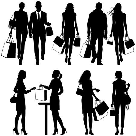 cassa supermercato: diverse persone, shopping - vector silhouettes