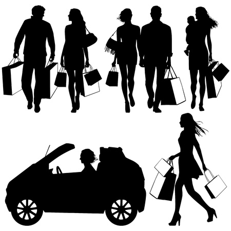 woman shopping cart: several people, shopping - vector silhouettes