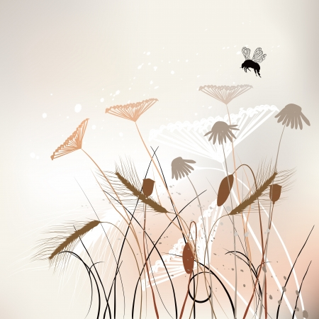 Floral background, meadow in summer time - vector Vector