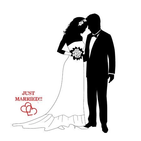 Romantic couple , silhouettes with a sign