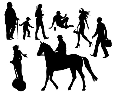 several people on the street Stock Vector - 19682107