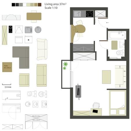 piano di progetto: Vector piatto proiezione con mobili Set Scala 1 10