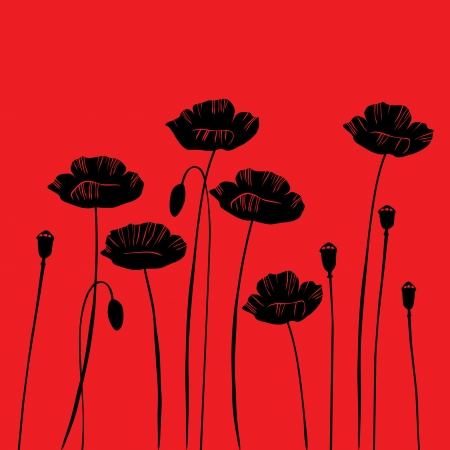 textil: floral background, poppy with a space for your text