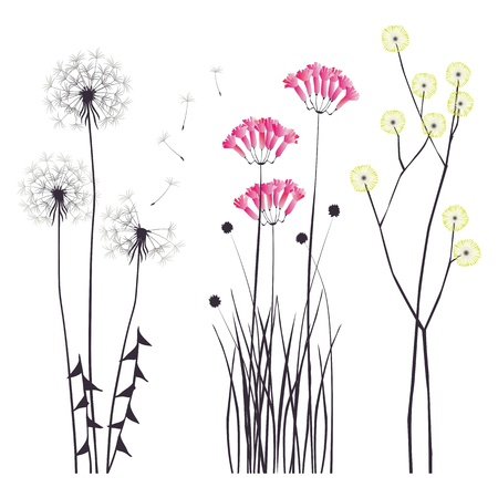 thistles: Floral background, blooming flowers - collection for designers