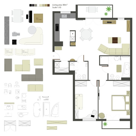 interior plan: flat projection with furniture  Set  Scale